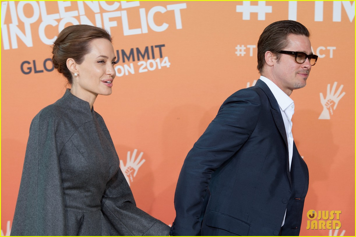 angelina jolie brad pitt keep hand in hand at the global summit end sexual violence 163134594