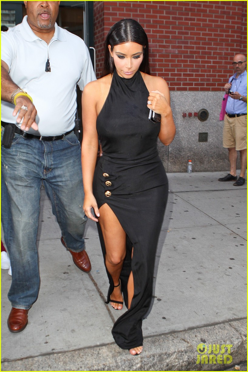 kim kardashian shows off legs for days sexy slit dress 09
