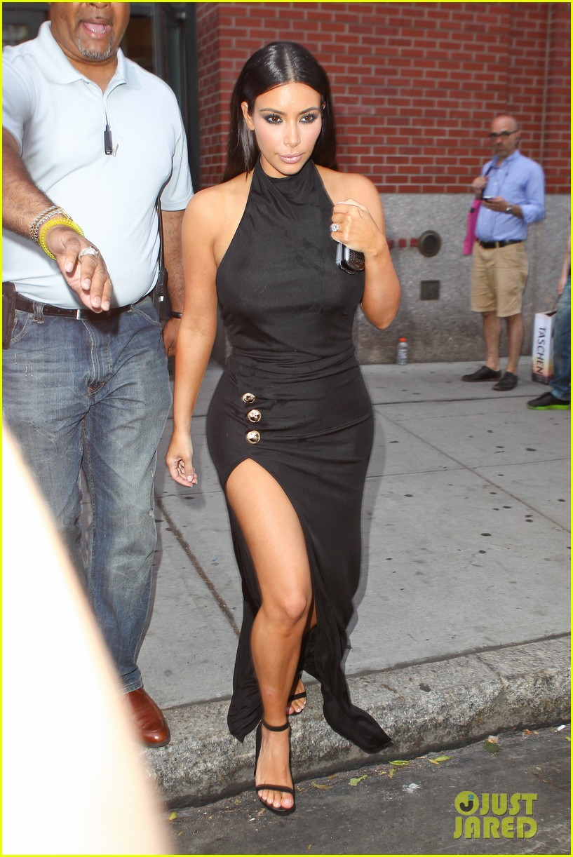 kim kardashian shows off legs for days sexy slit dress 10