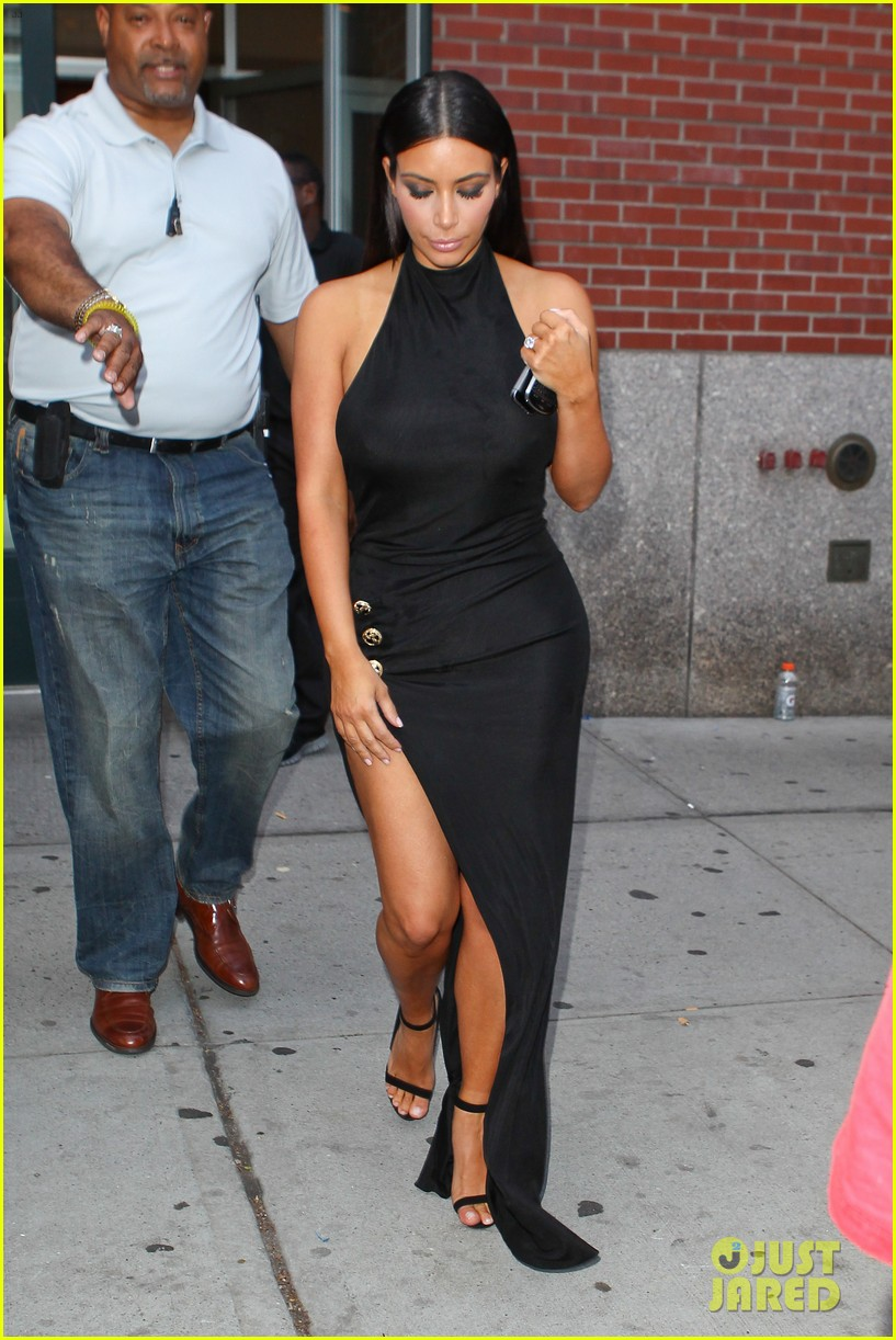 kim kardashian shows off legs for days sexy slit dress 153144312
