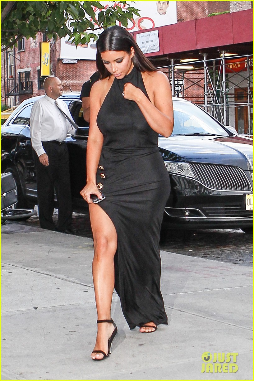kim kardashian shows off legs for days sexy slit dress 203144317