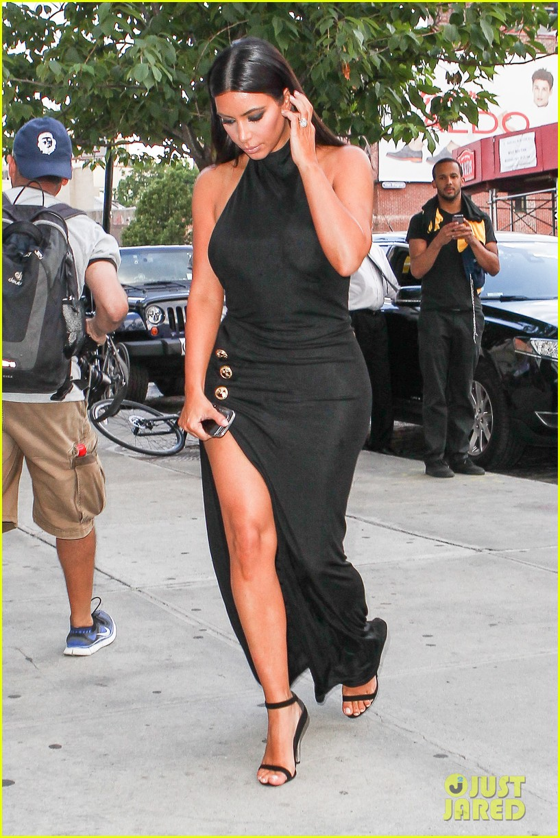 kim kardashian shows off legs for days sexy slit dress 253144322
