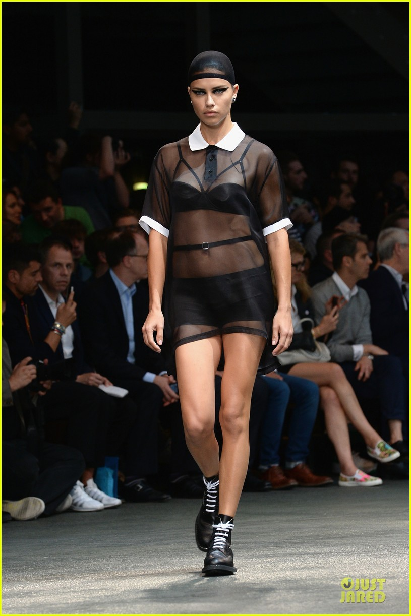 adriana lima irina shayk sheer at givenchy show 033145219