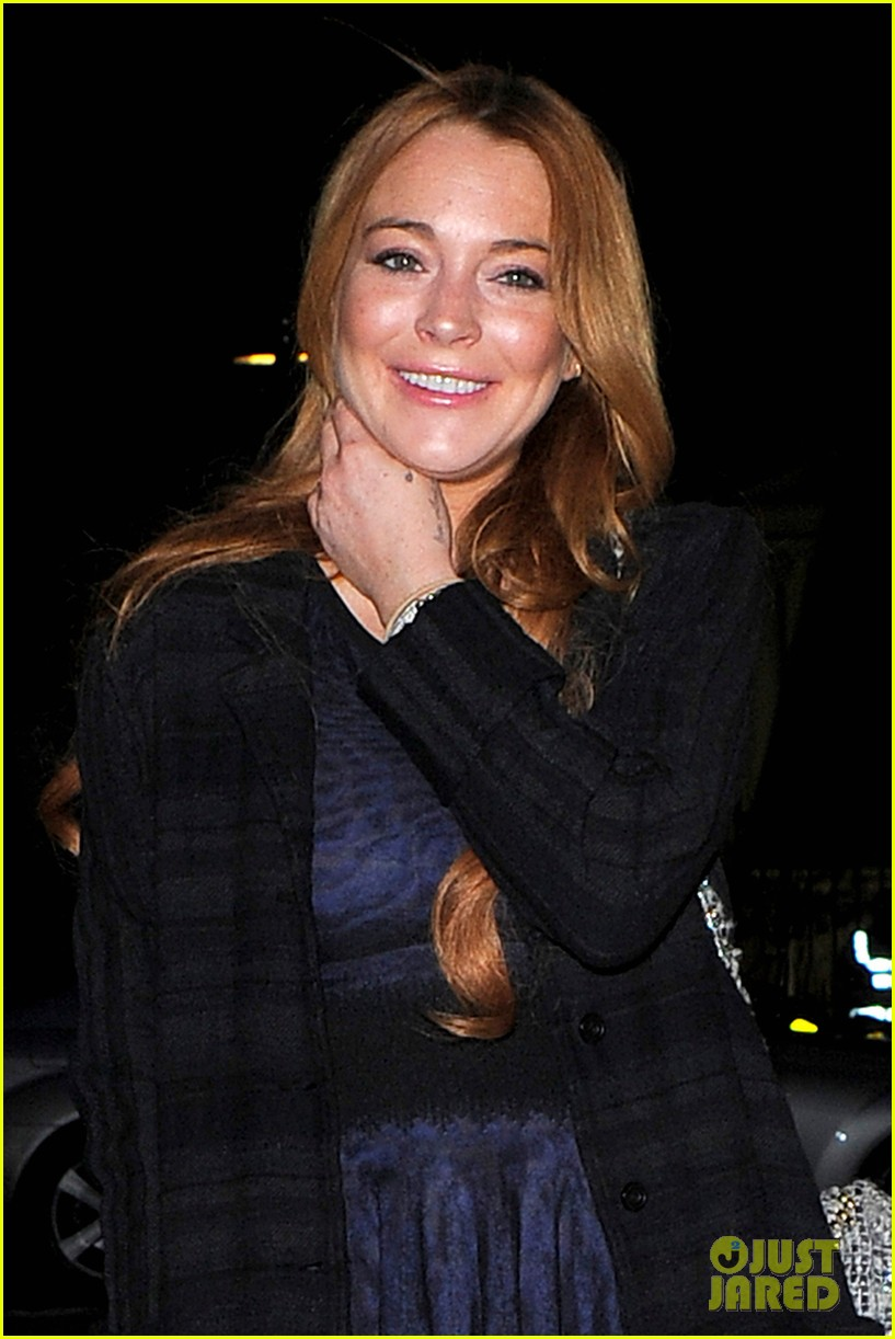 lindsay lohan changes up her look to evening wear for night out 073143021