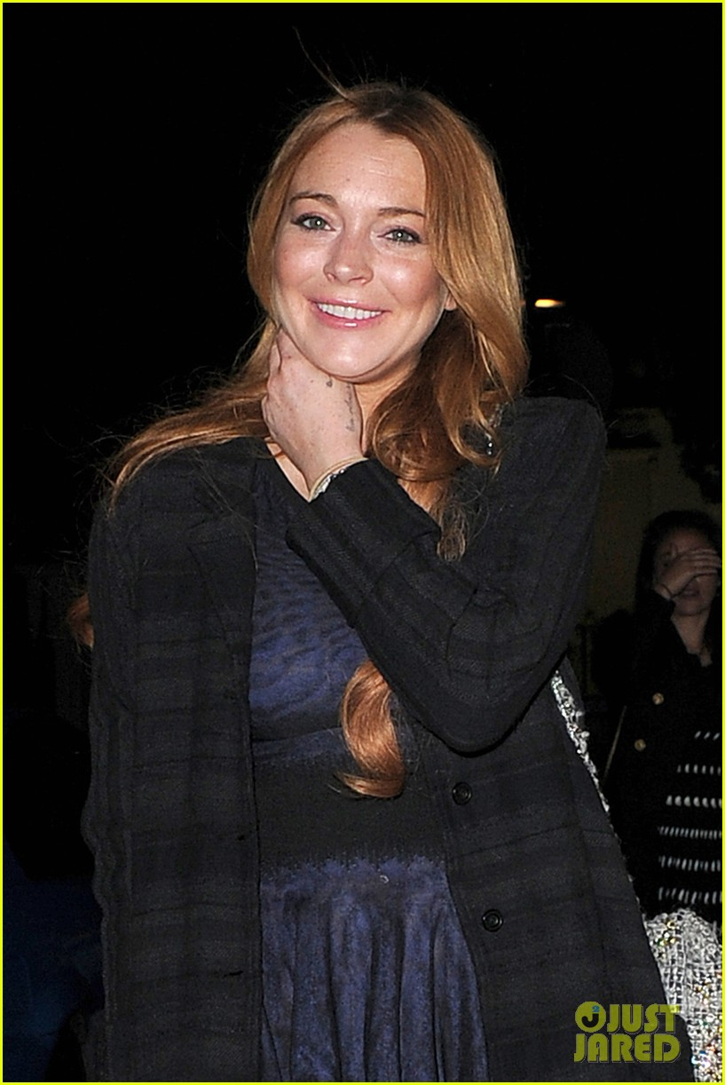lindsay lohan changes up her look to evening wear for night out 093143023