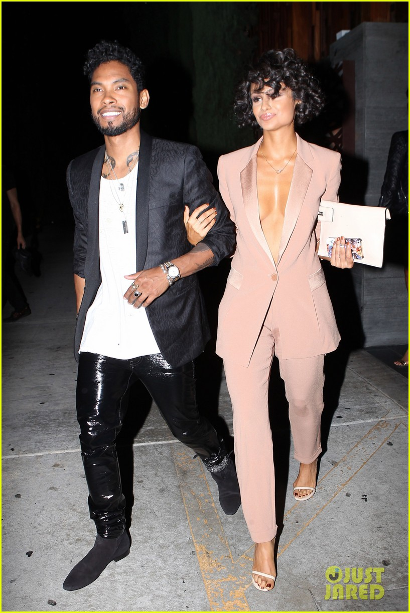 miguel girlfriend nazanin mandi stakes claim to his crotch 013147035