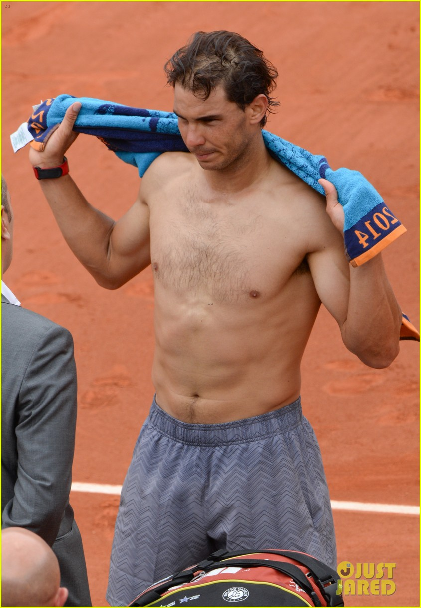 rafael nadal goes shirtless at french open strolls wih xisca perello 043126518