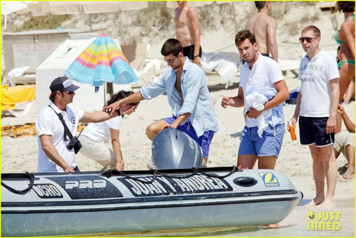 novak djokovic continues his bachelor party beach vacation 133135158