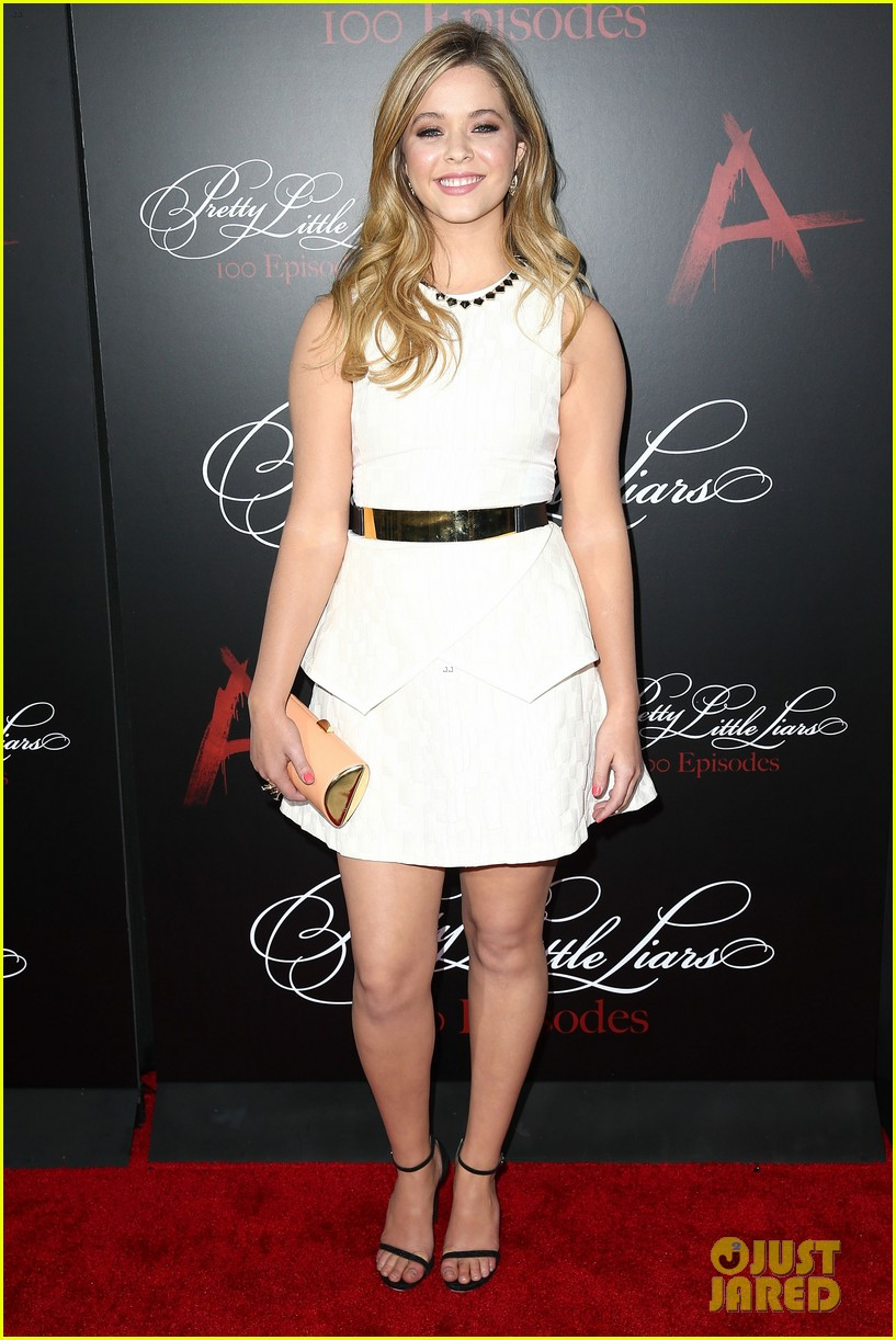 lucy hale ashley benson pretty little liars 100th episode party 223125762