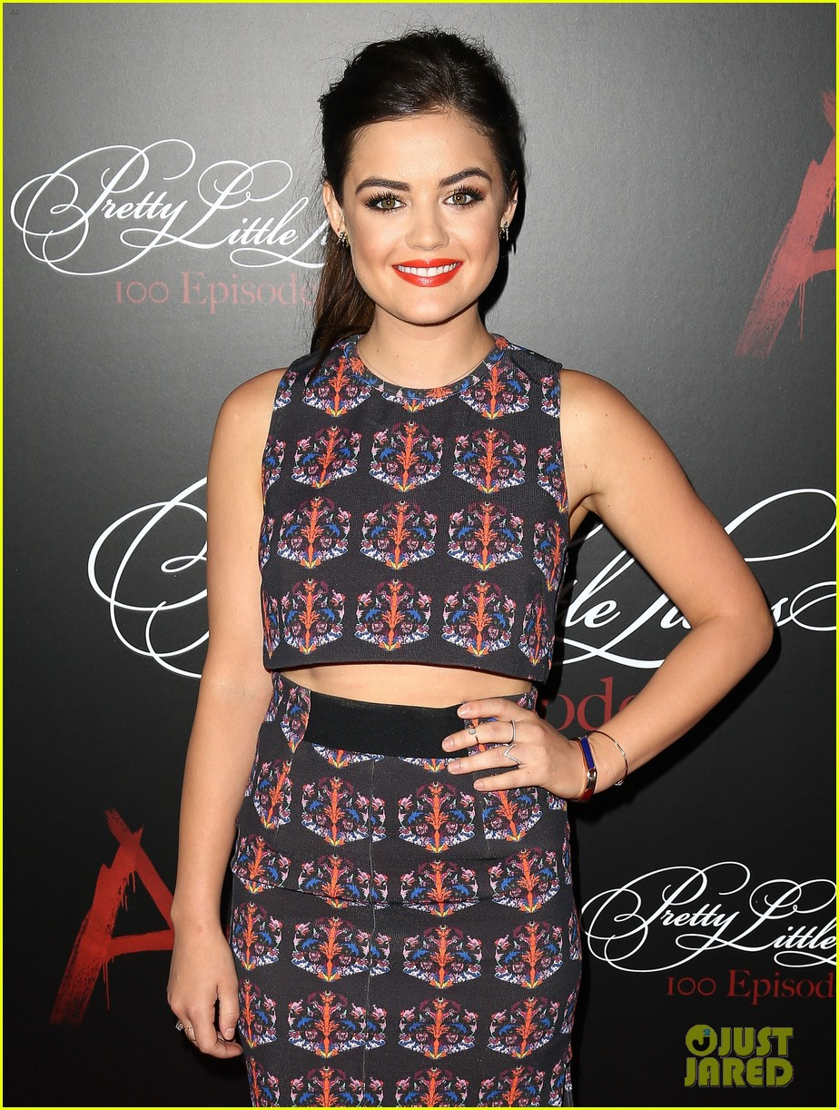 lucy hale ashley benson pretty little liars 100th episode party 293125769