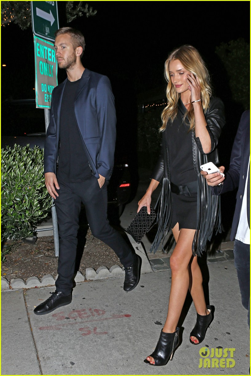 rosie huntington whiteley calvin harris have dinner together 013129841