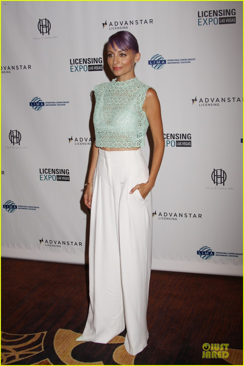 nicole richie rocks purple hair white bra at licensing expo 033137712