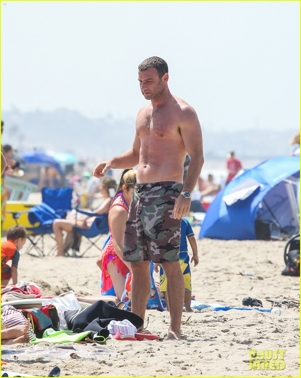 liev schreiber shirtless beach fathers day 043136537