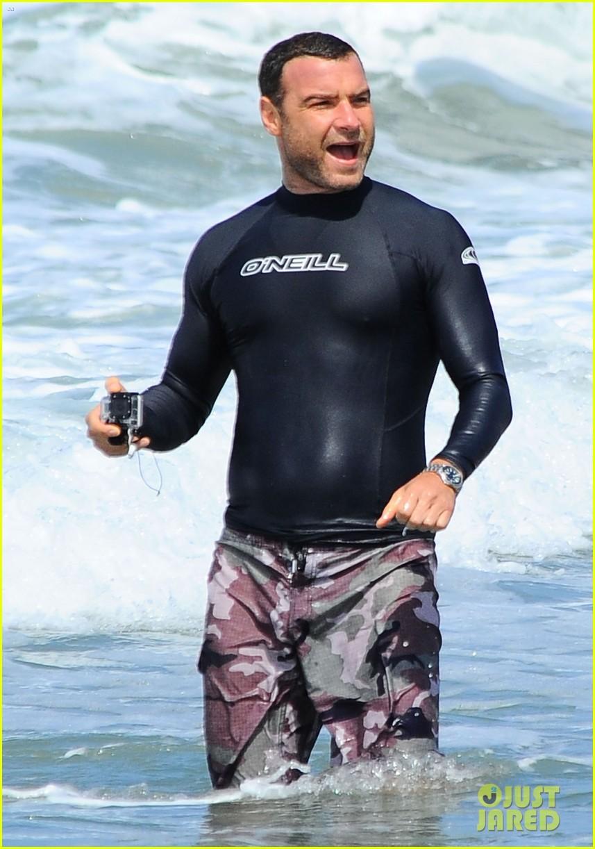 liev schreiber shirtless beach fathers day 113136544