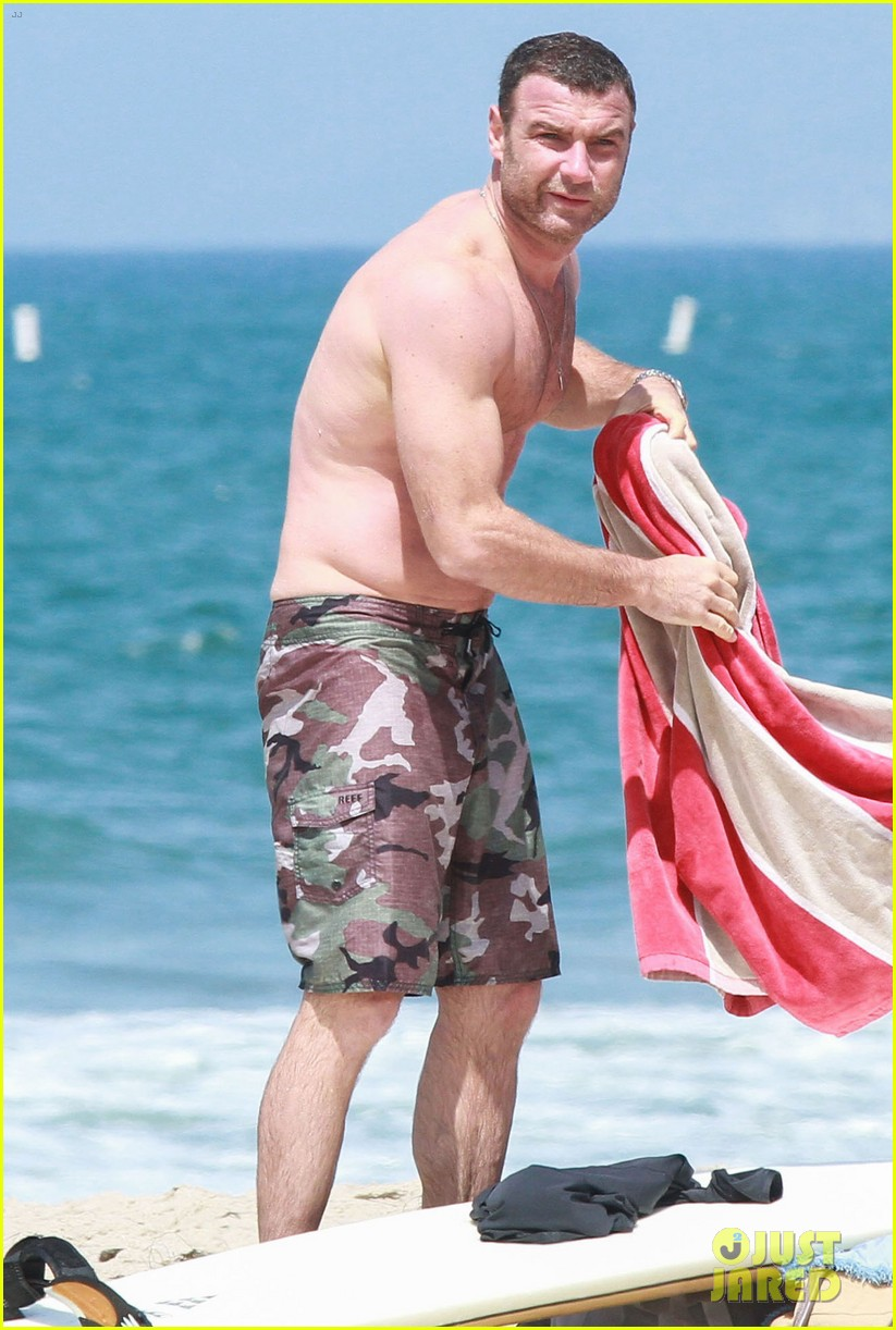 liev schreiber shirtless beach fathers day 183136551