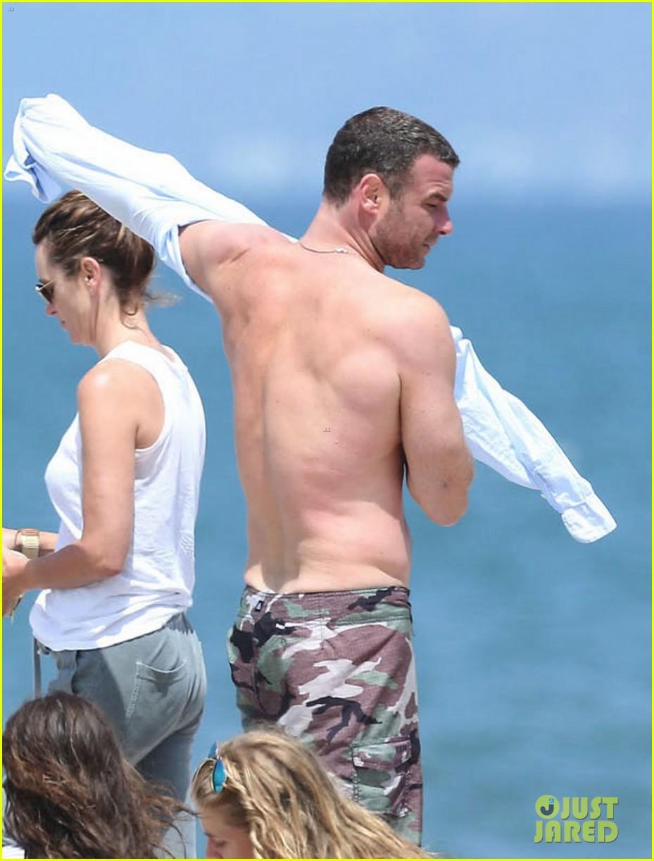 liev schreiber shirtless beach fathers day 223136555