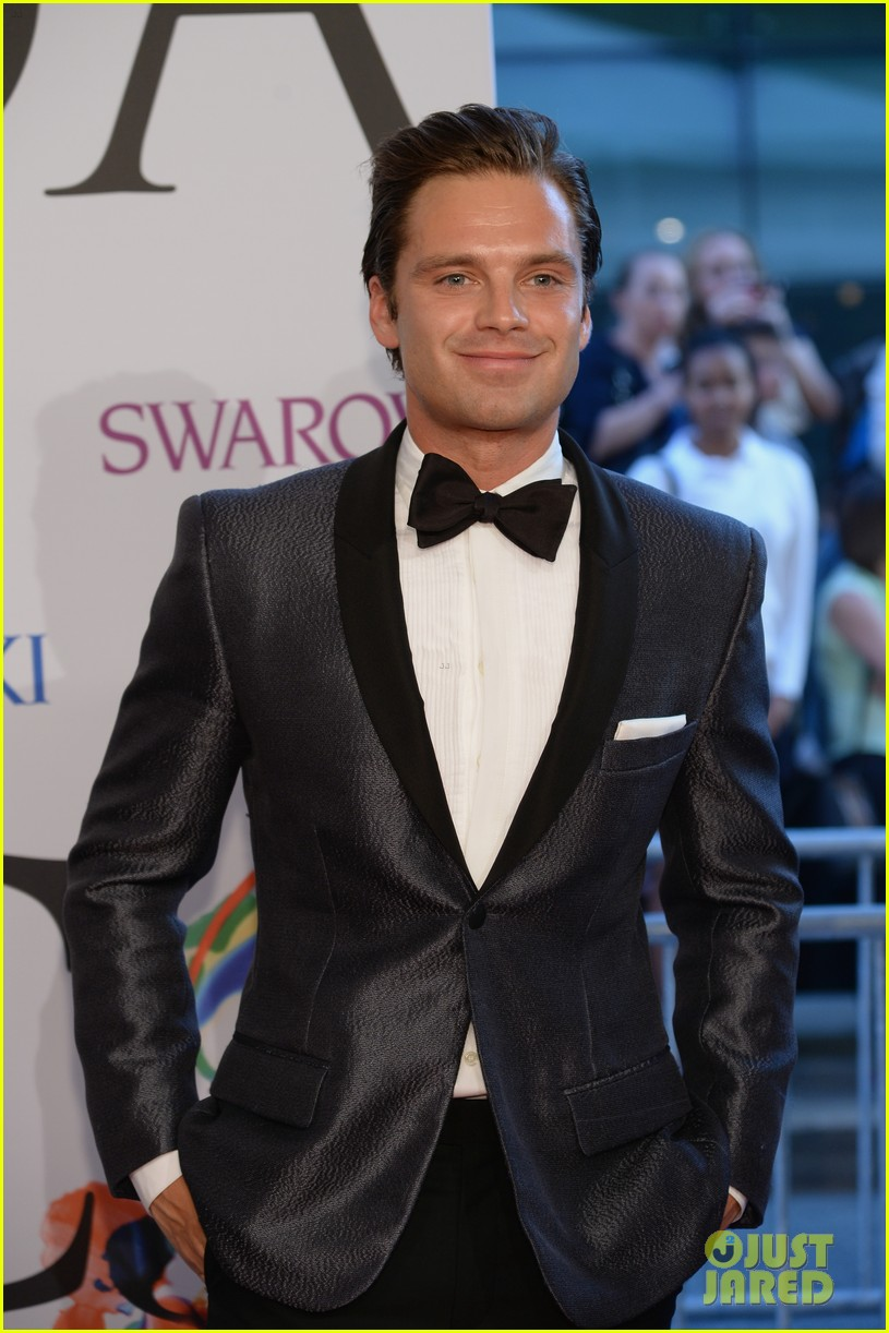 sebastian stan looks good on the red carpet at the cfda
