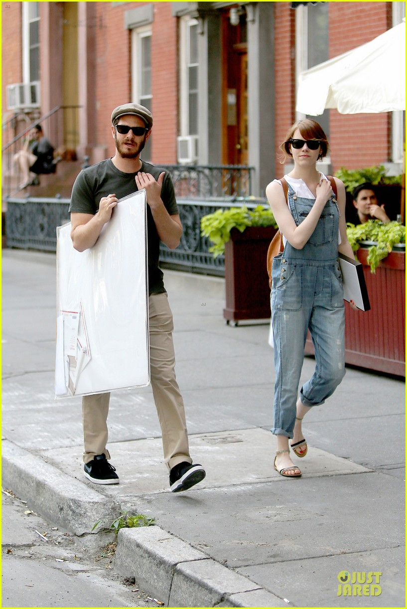 emma stone looks trendy in overalls andrew garfield 133140791