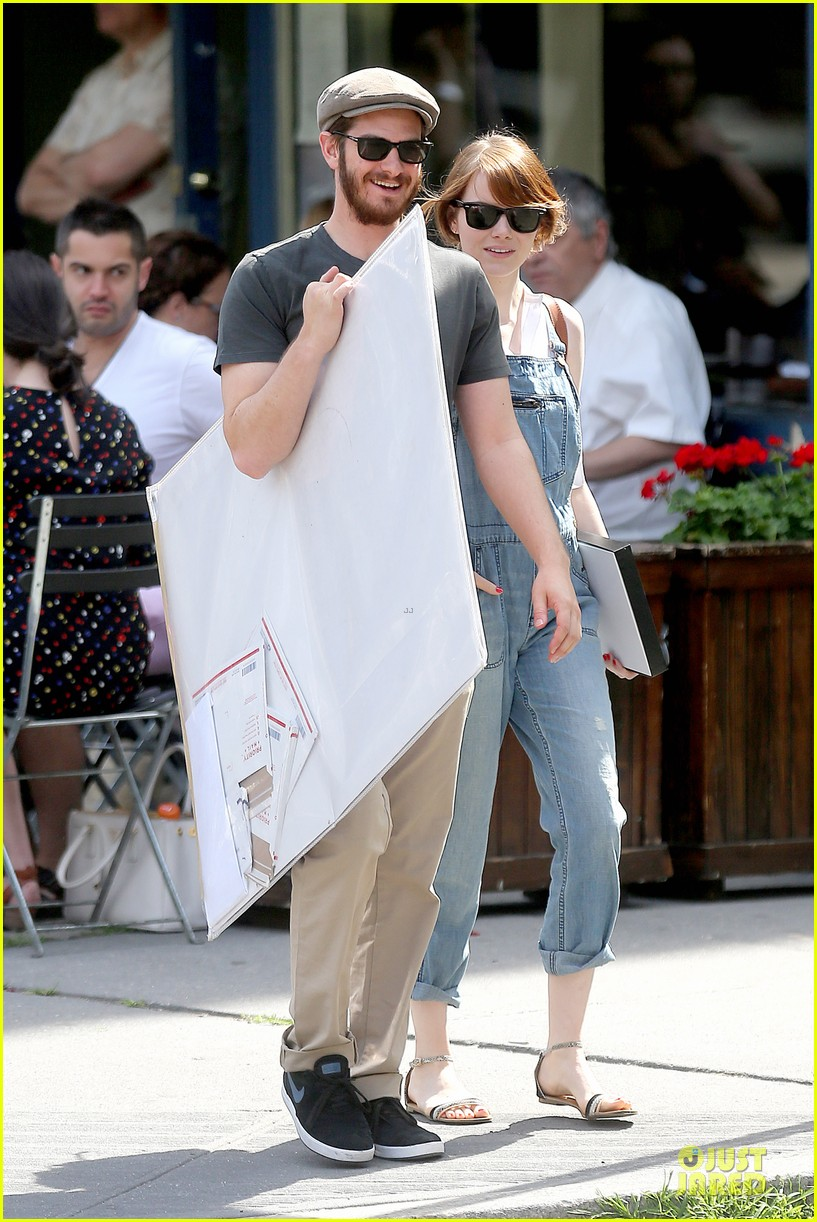 emma stone looks trendy in overalls andrew garfield 183140796