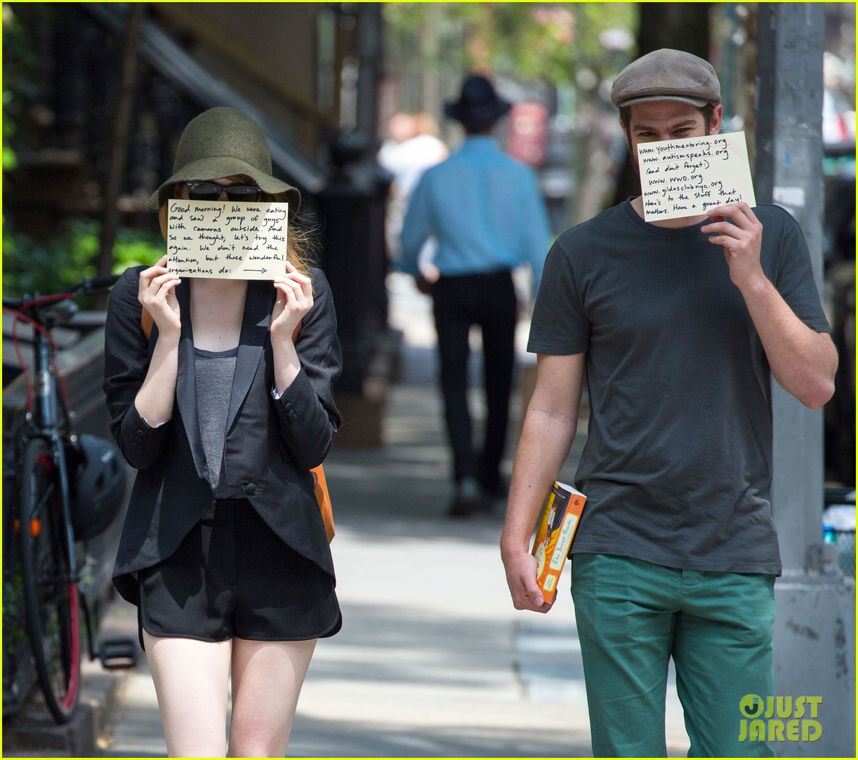 emma stone andrew garfield use signs to raise awareness 133137336