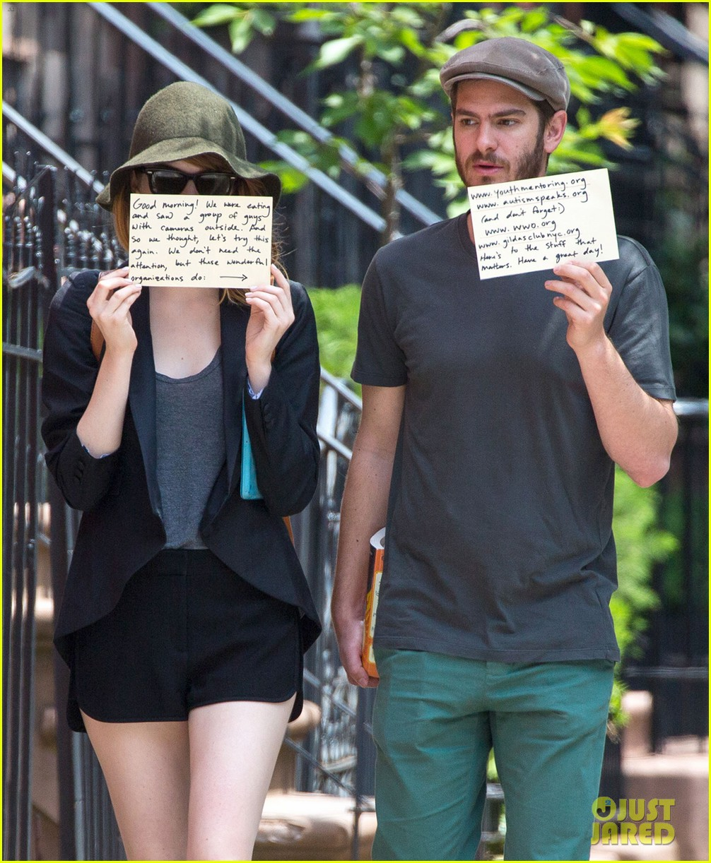 emma stone andrew garfield use signs to raise awareness 163137339