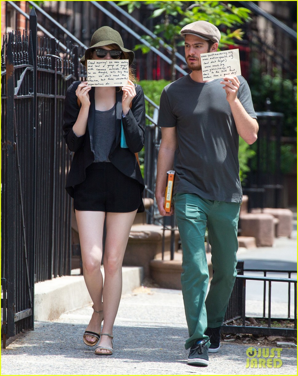 emma stone andrew garfield use signs to raise awareness 173137340