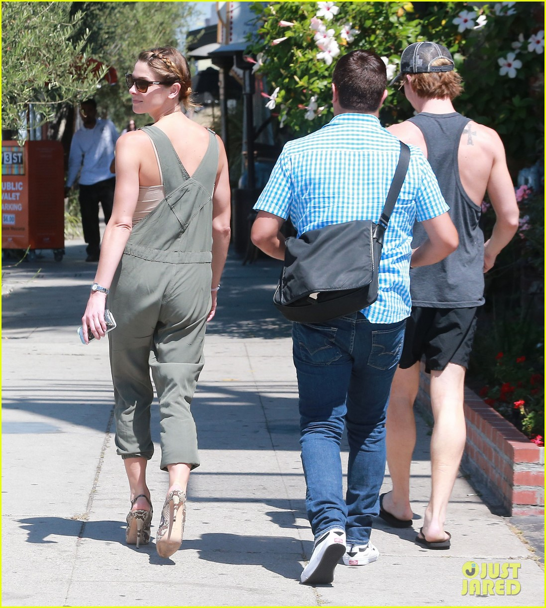 ashley greene wears overalls lunch 253151335