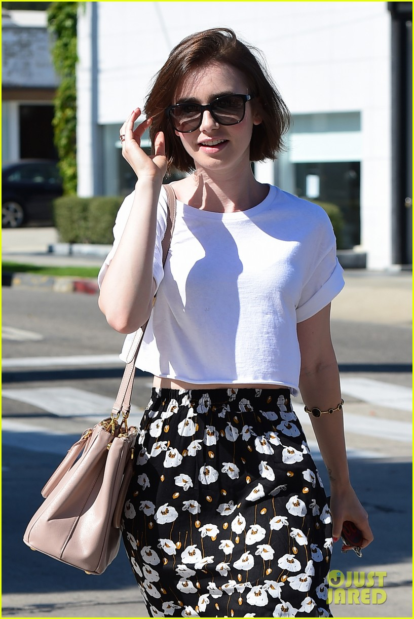 lily collins salon stop before holiday 173149251