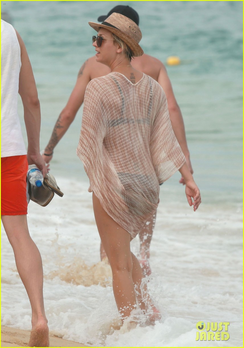kaley cuoco covers bikini body with sheer wrap 153149973