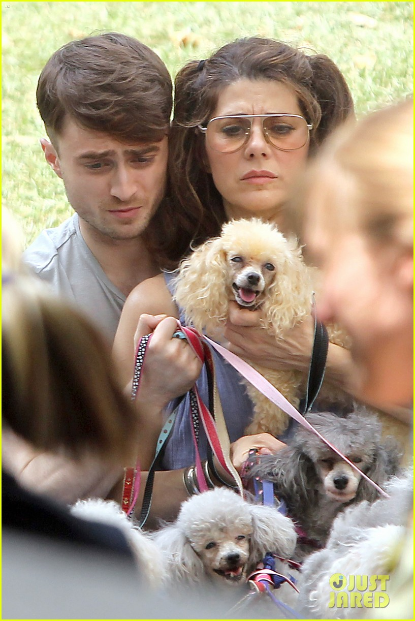 daniel radcliffe dog walker trainwreck nyc set 033147550