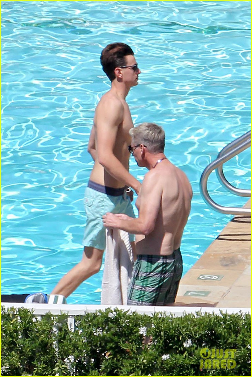 joe simpson hits the pool with a much younger man 23