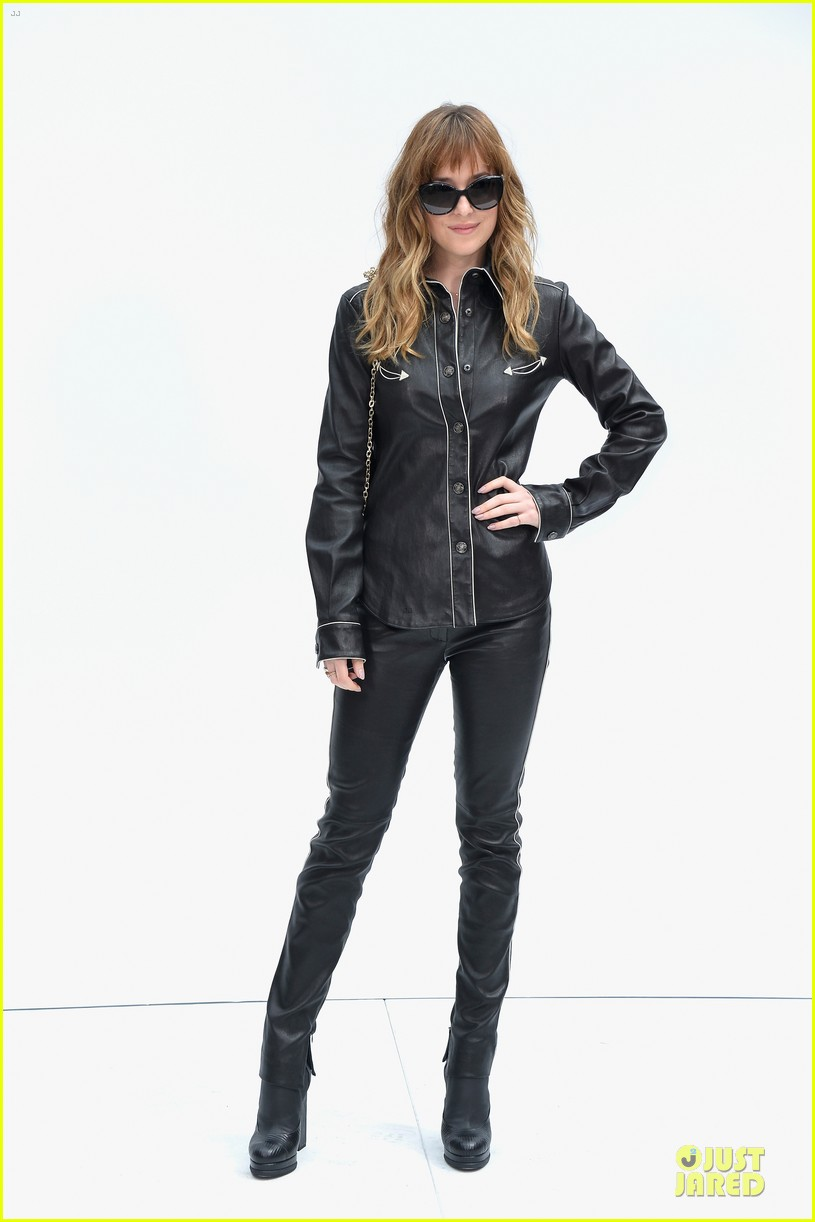 dakota johnson sexy leather outfit at chanel show 033151947