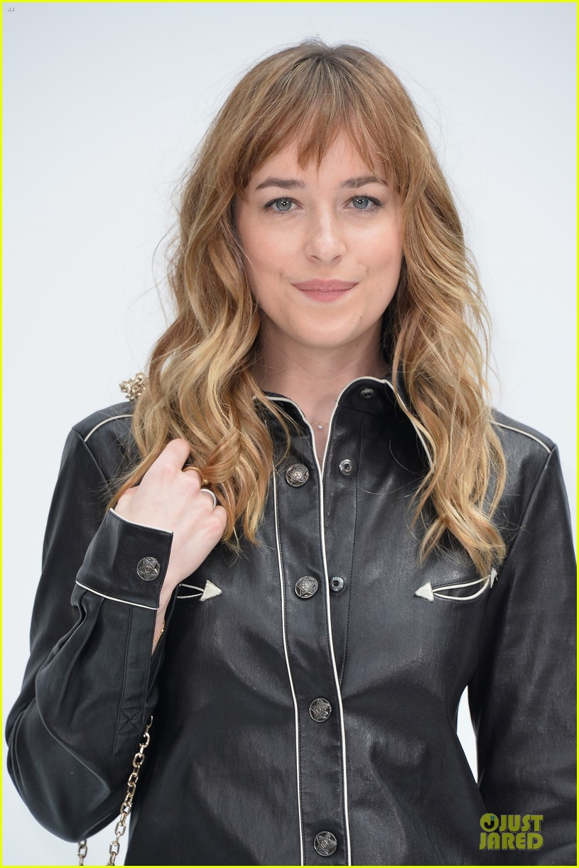 dakota johnson sexy leather outfit at chanel show 063151950