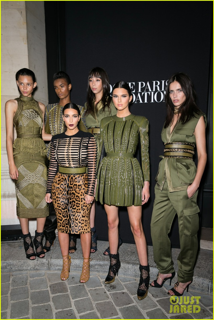 kim kardashian kendall jenner balmain paris fashion week 033152446