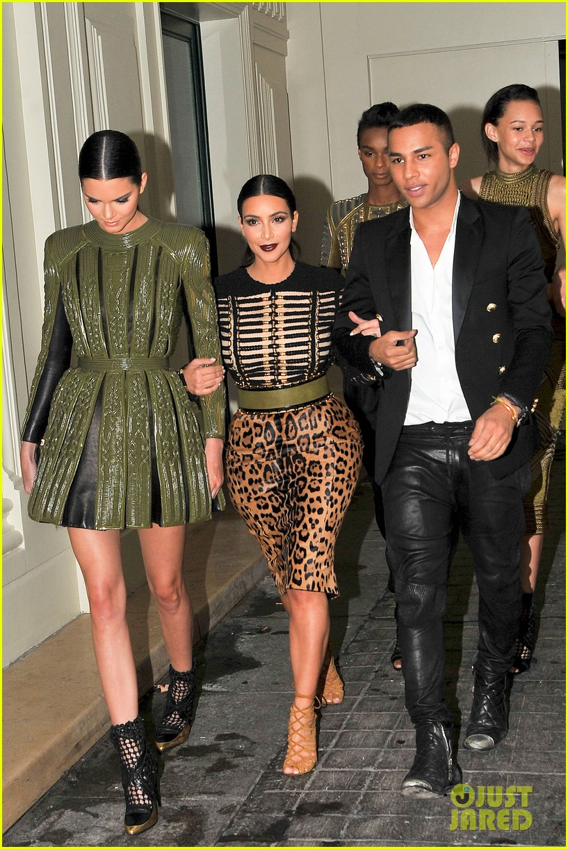 kim kardashian kendall jenner balmain paris fashion week 053152448