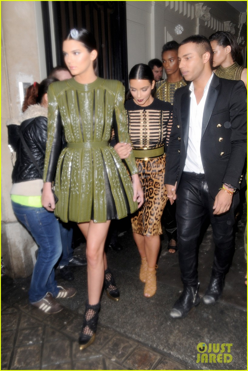 kim kardashian kendall jenner balmain paris fashion week 133152456