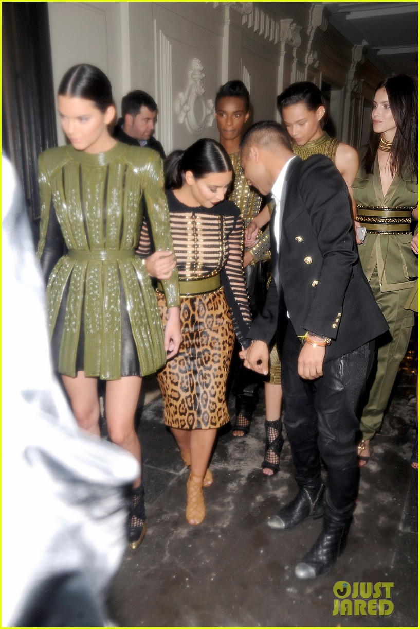 kim kardashian kendall jenner balmain paris fashion week 163152459