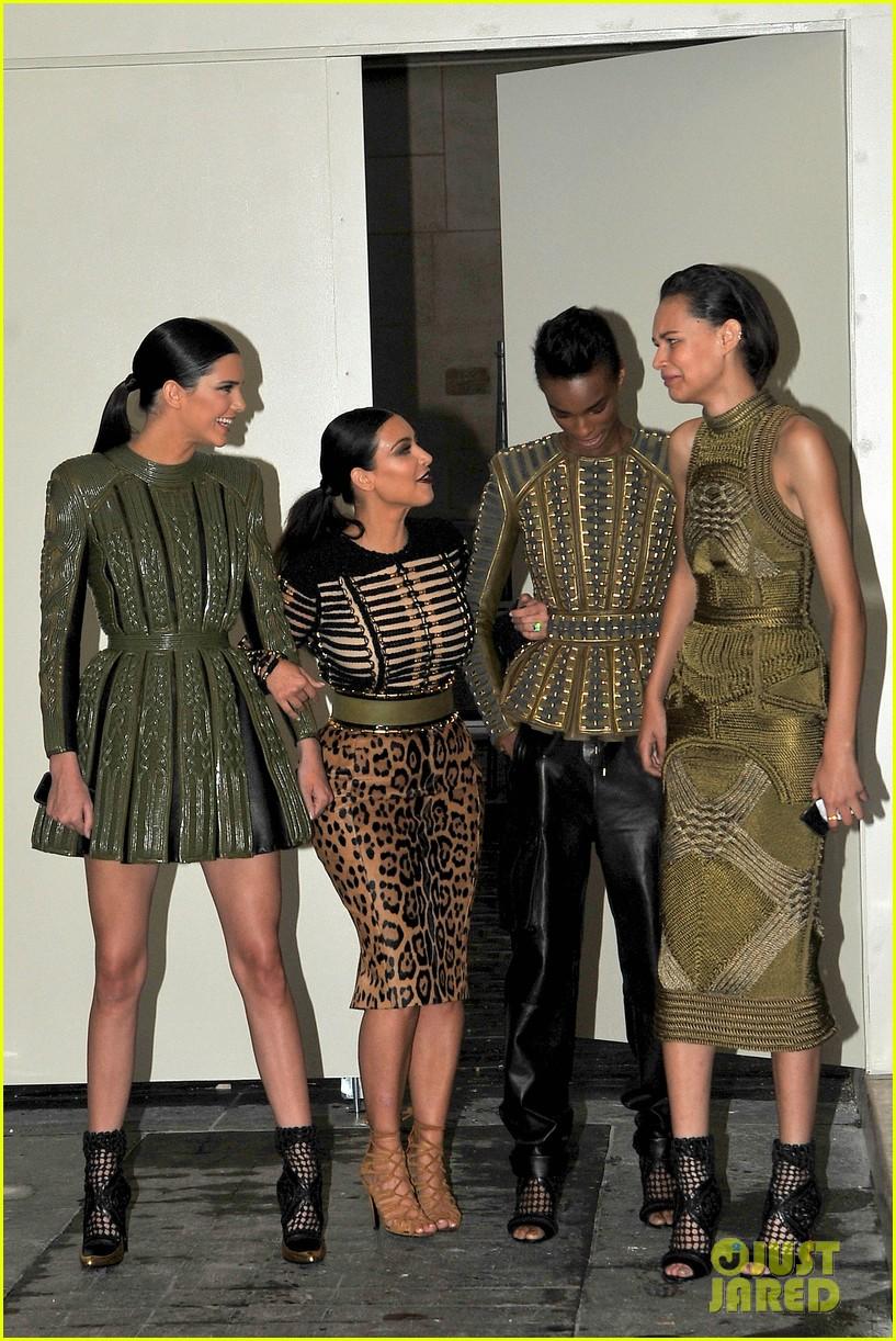 kim kardashian kendall jenner balmain paris fashion week 183152461