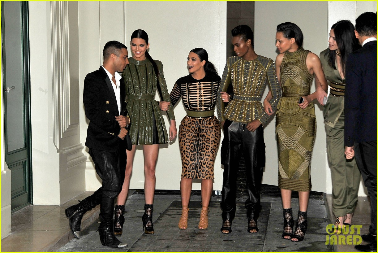 kim kardashian kendall jenner balmain paris fashion week 193152462