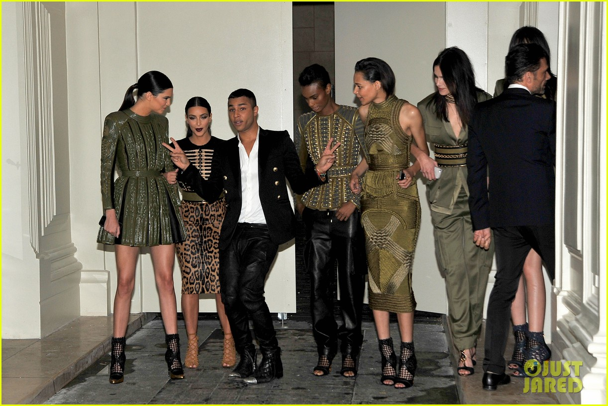 kim kardashian kendall jenner balmain paris fashion week 20