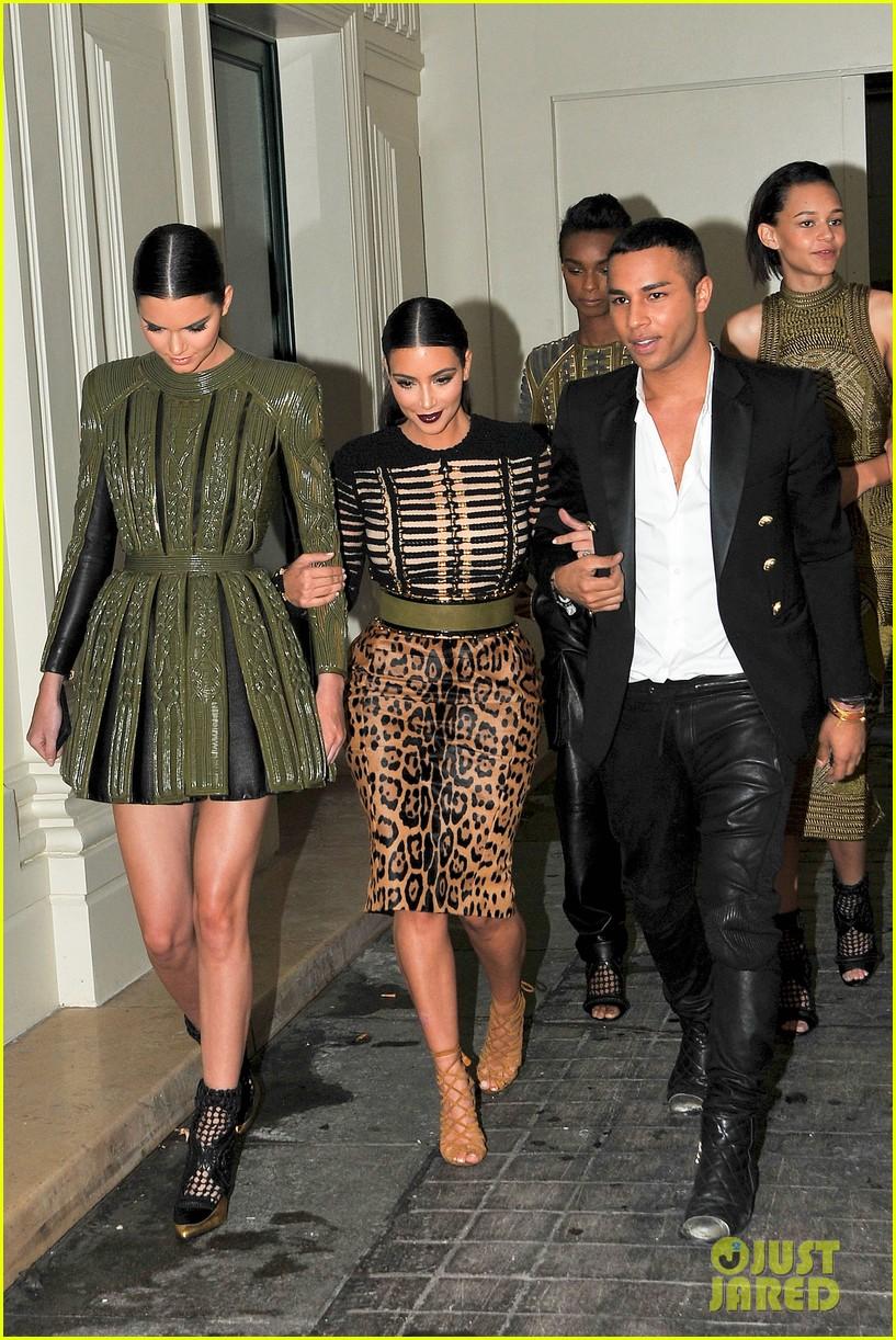 kim kardashian kendall jenner balmain paris fashion week 213152464