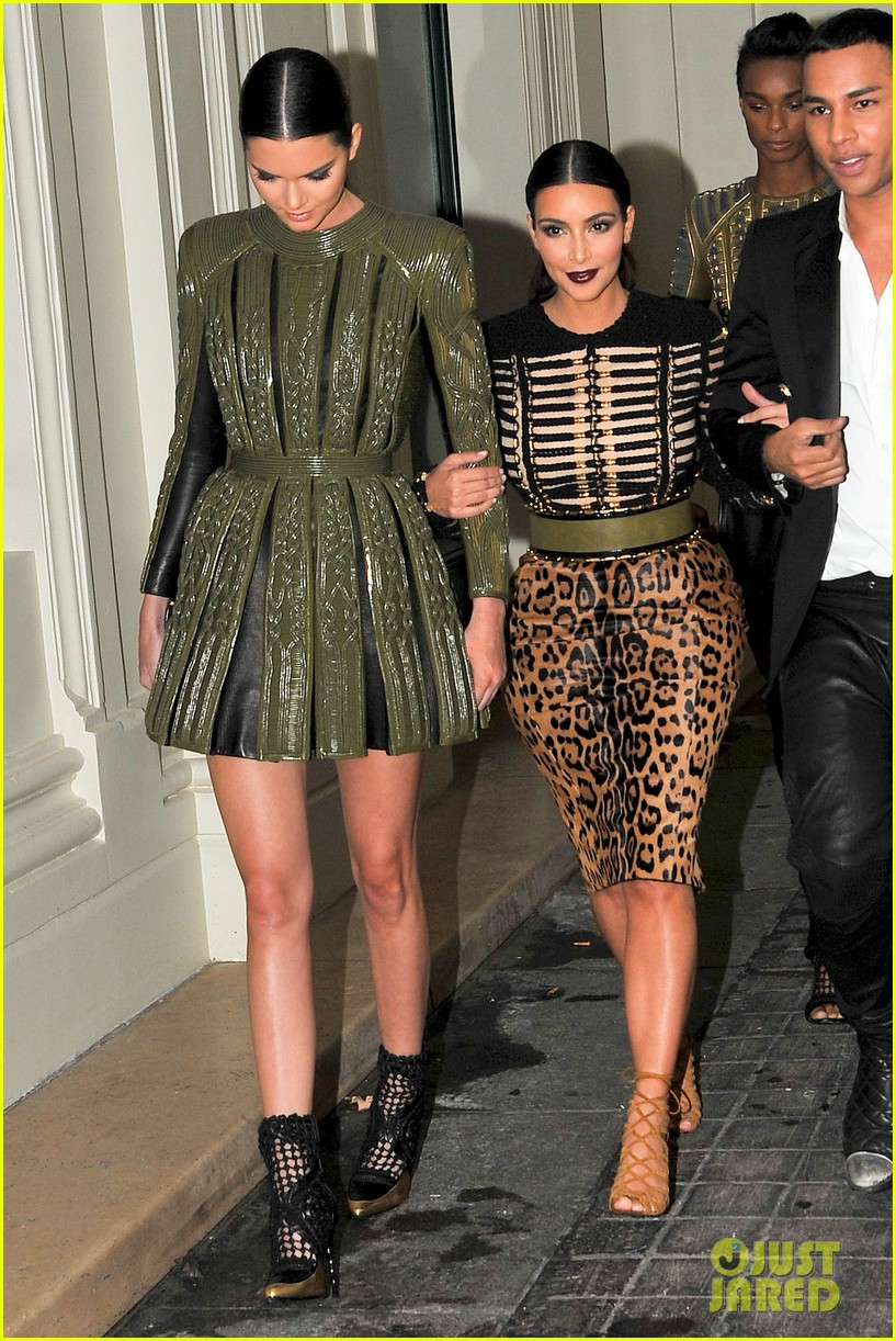 kim kardashian kendall jenner balmain paris fashion week 223152465