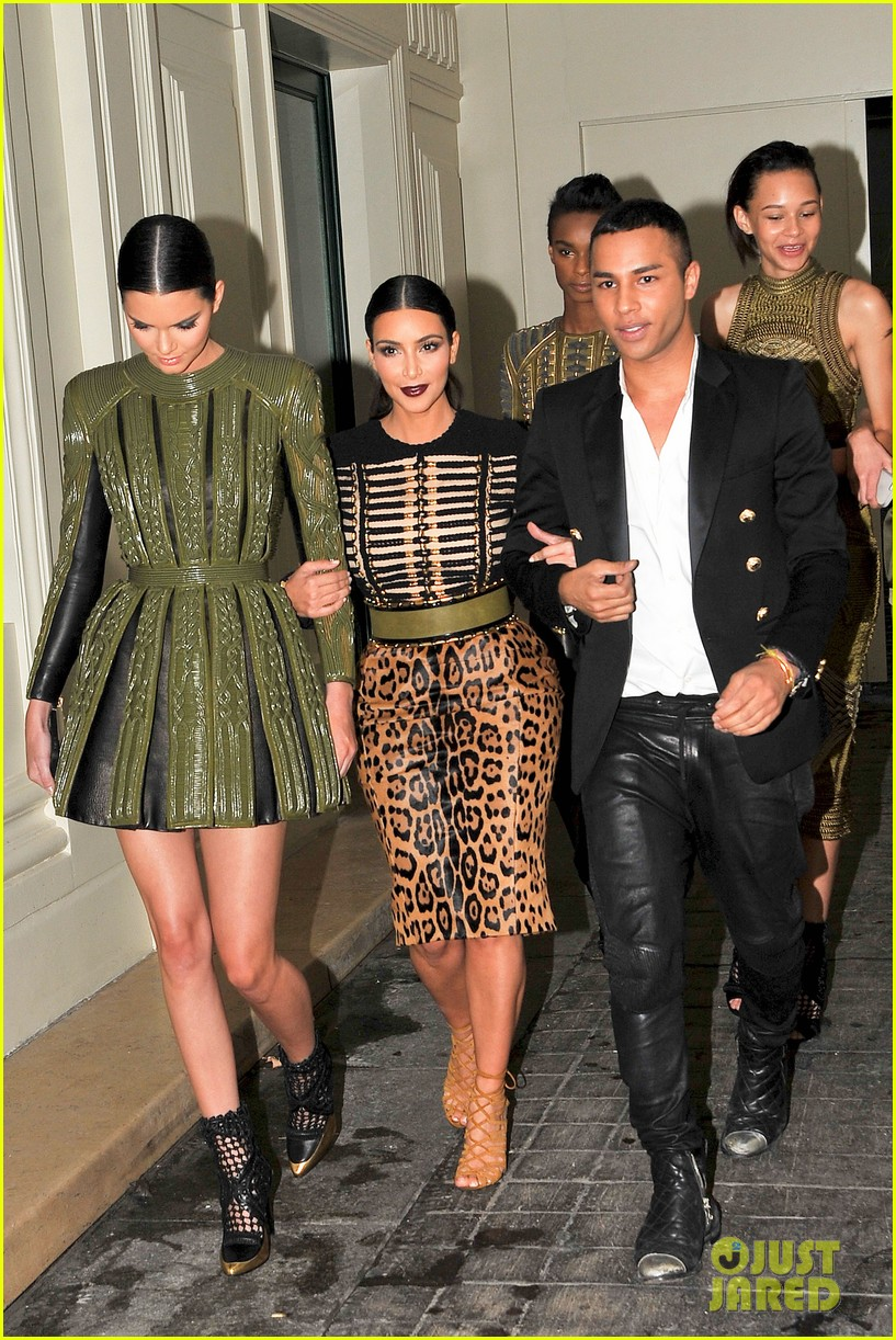 kim kardashian kendall jenner balmain paris fashion week 23