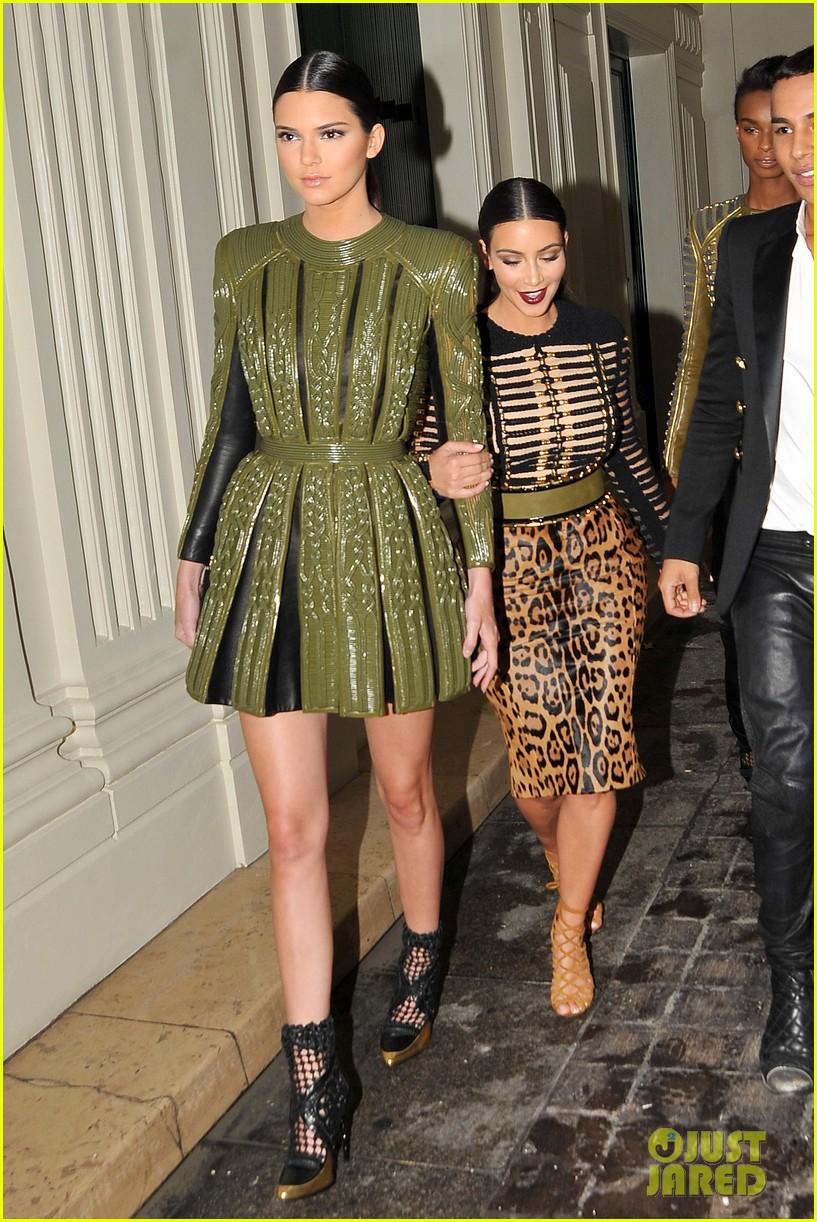 kim kardashian kendall jenner balmain paris fashion week 243152467