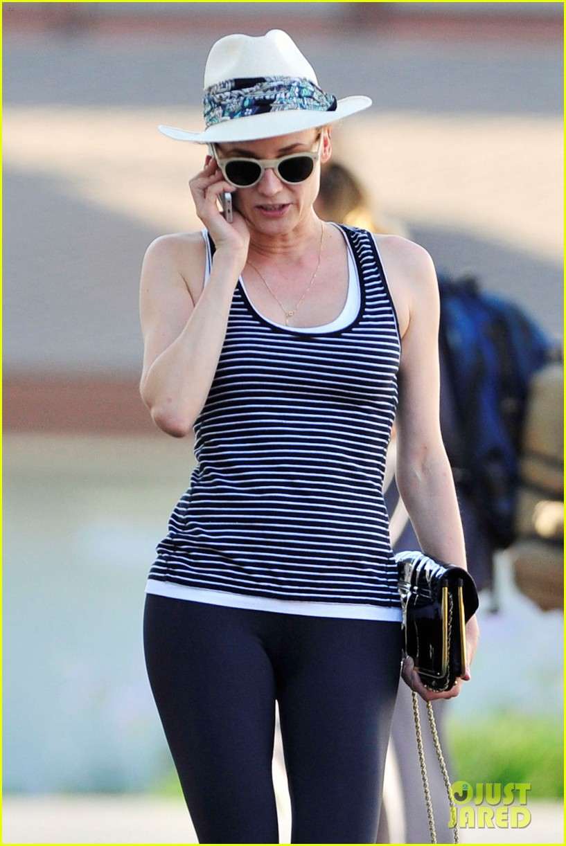 diane kruger keeps the suns rays out of her face with a cute hat 193147636