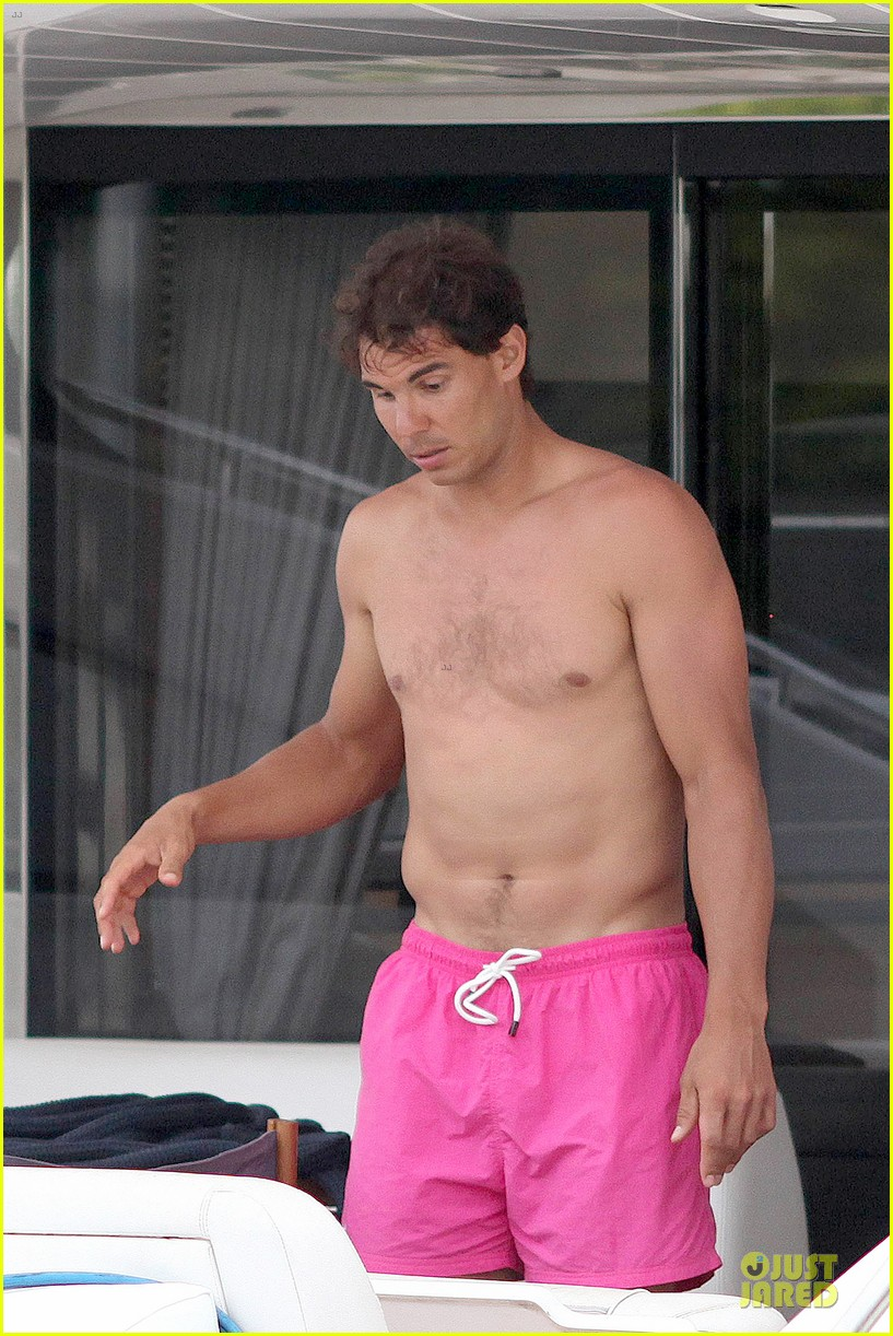 rafael nadal confident shirtless pink during ibiza vacation 083151343