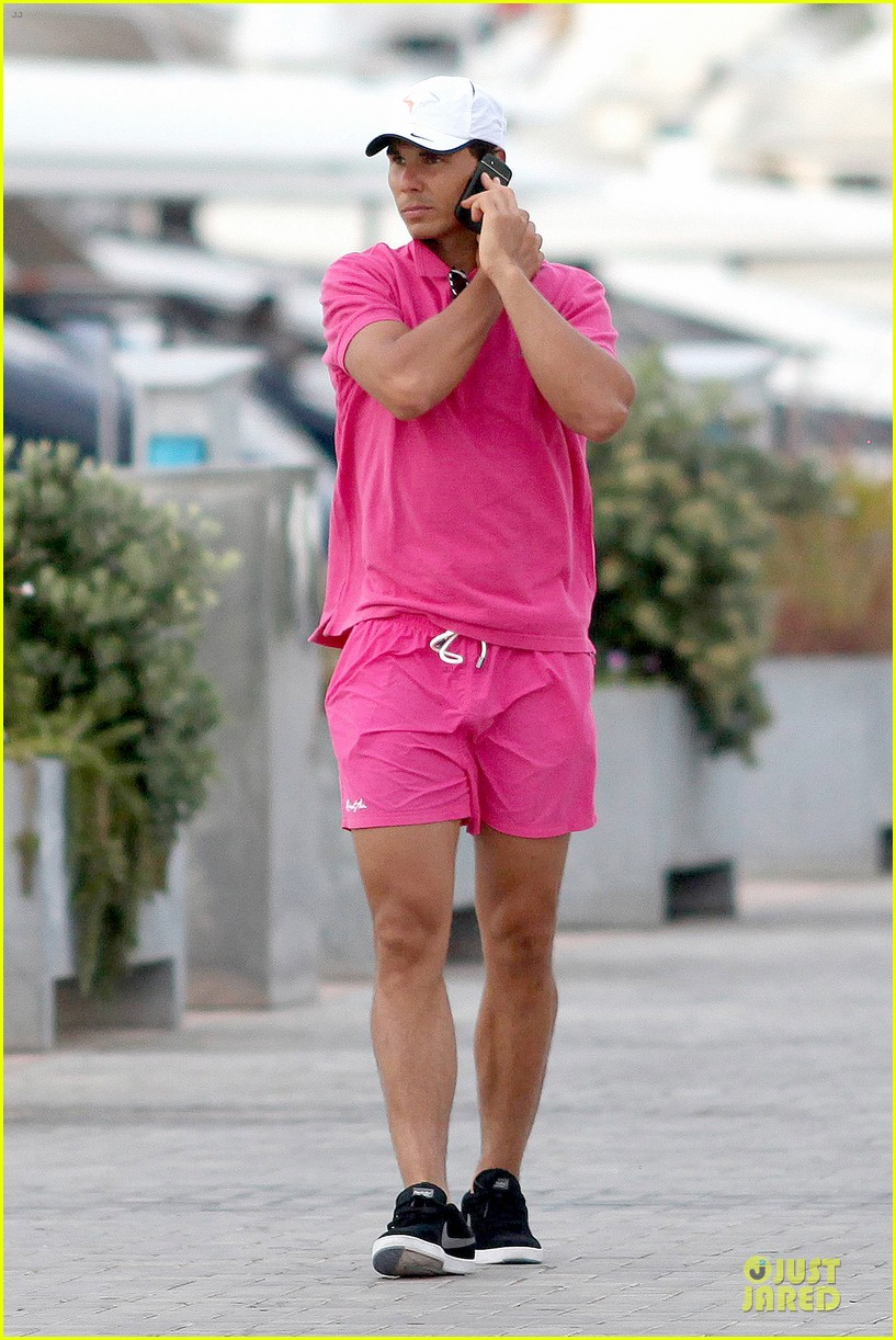 rafael nadal confident shirtless pink during ibiza vacation 133151348
