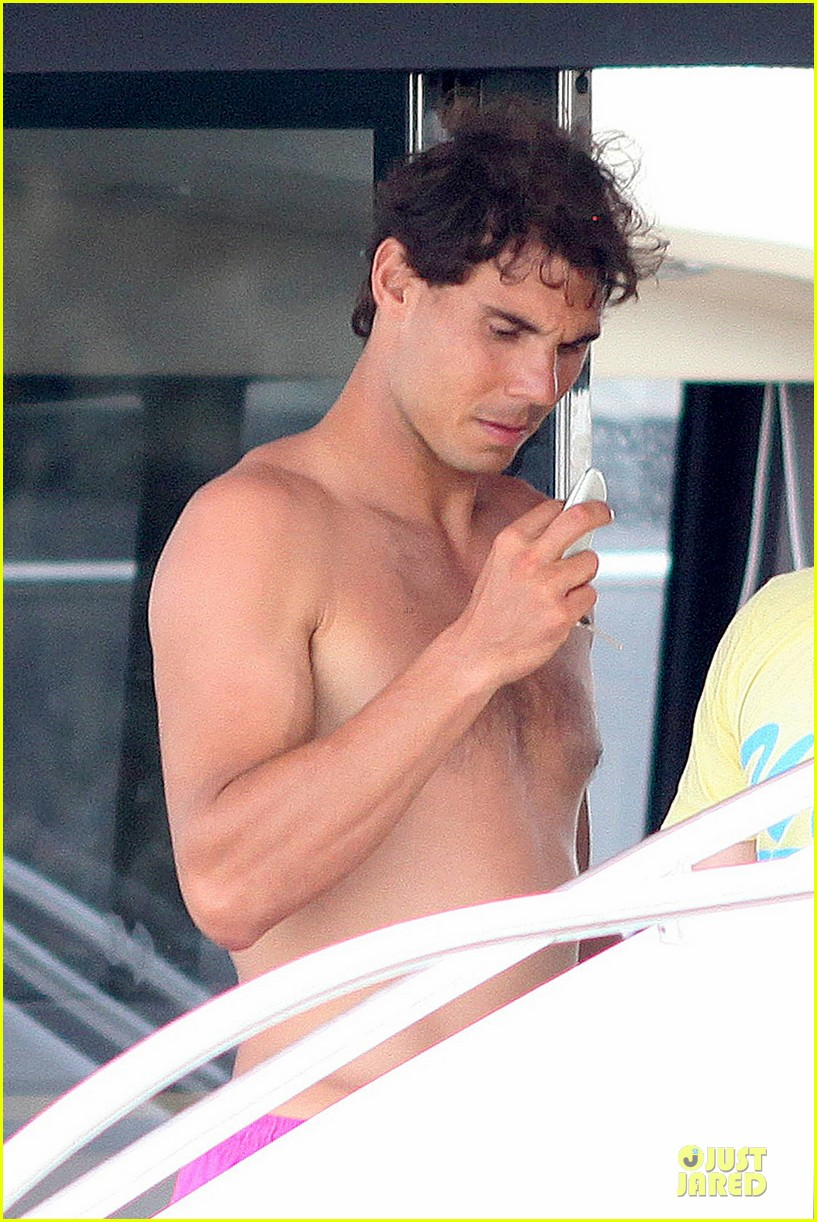 rafael nadal confident shirtless pink during ibiza vacation 143151349