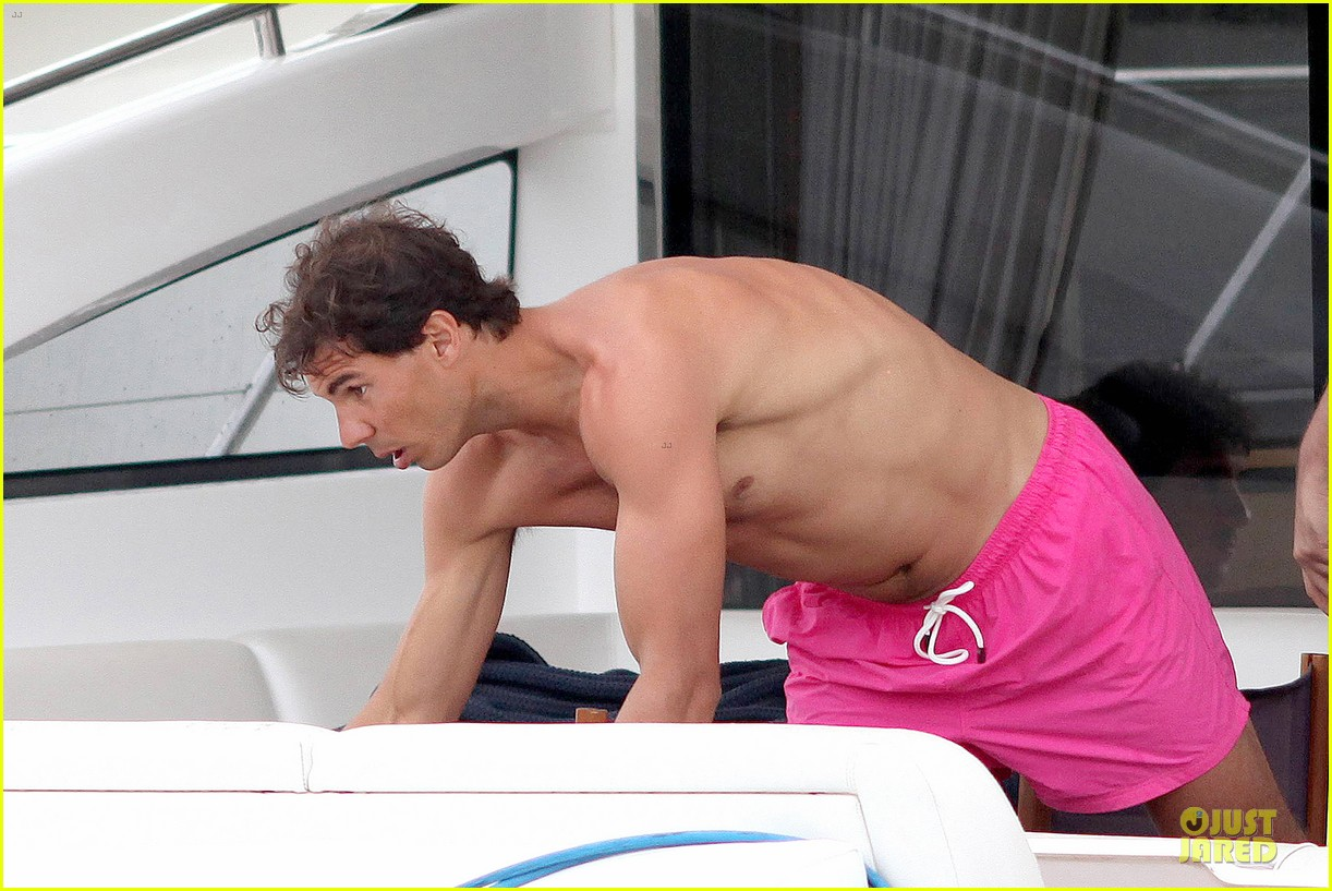rafael nadal confident shirtless pink during ibiza vacation 153151350