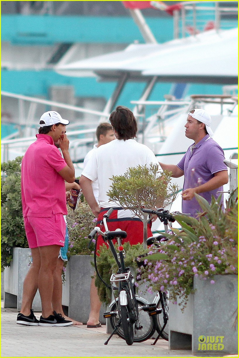 rafael nadal confident shirtless pink during ibiza vacation 273151362